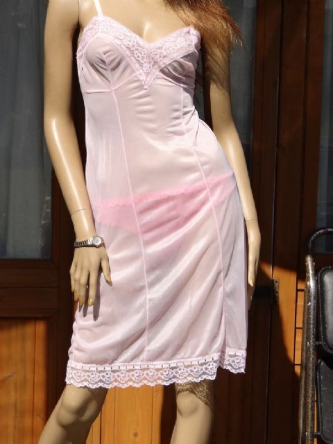 AUTHENTIC 1950's SEE THRU SILKY NYLON FULL SLIP  - SIZE 36